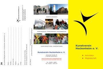Information/Anmeldung - Kunstverein Hockenheim