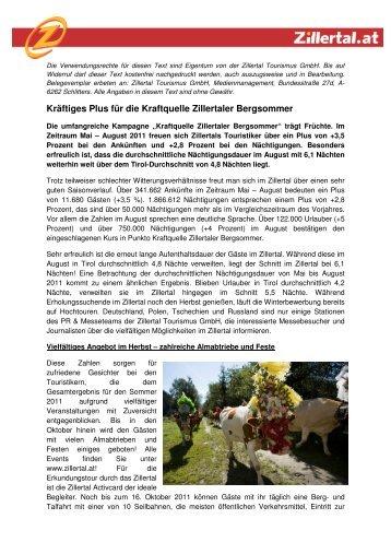 Medieninformation kräftiges Plus für die Kraftquelle Zillertaler ...