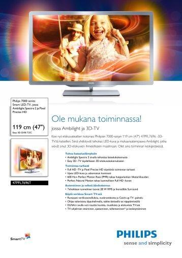 47PFL7696T/12 Philips Smart LED-TV, jossa Ambilight Spectra 2 ja ...