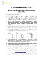 Poskytování stipendií v akademickém roce 2012/2013 - Fakulta ...