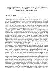 I contesti di applicazione e i prevedibili effetti del Decreto ...