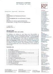 Jahresbrief 2006 - Ratajczak & Partner Rechtsanwälte