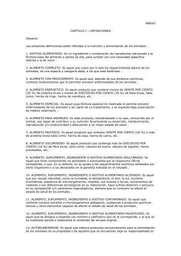 ANEXO CAPITULO I – DEFINICIONES Glosario: Las ... - Senasa