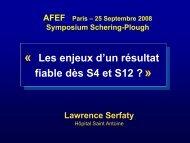 Les enjeux d'un résultat fiable dès S4 et S12 - Afef