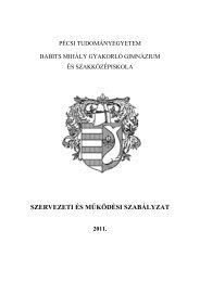 szervezeti és működési szabályzat - PTE Babits Mihály Gimnázium ...