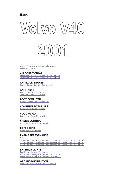 2001 System Wiring Diagrams Volvo - V40 AIR ... - Technosolution on volvo turbocharger diagram, volvo fuse panel diagram, volvo diesel engine diagram, volvo door parts diagram, volvo windshield washer diagram, volvo exhaust diagram, volvo timing marks diagram, volvo air system diagram, volvo engine parts diagram, volvo air filter diagram, volvo timing belt diagram, volvo transmission diagram, volvo brake diagram, volvo suspension diagram, volvo cooling diagram, volvo sunroof diagram,