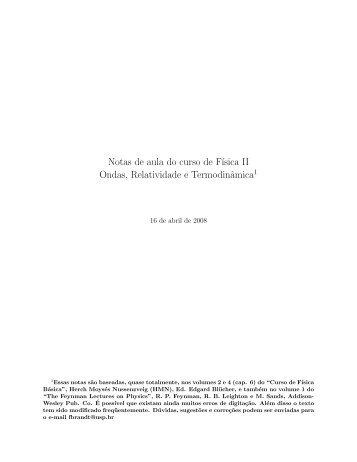 Notas de aula do curso de F´ısica II Ondas ... - Plato - USP