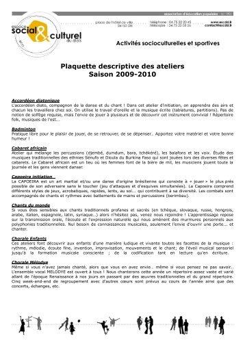 Plaquette descriptive des ateliers Saison 2009-2010 - ESCDD