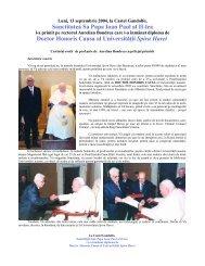 Sanctitatea Sa Papa Ioan Paul al II-lea - Universitatea Spiru Haret