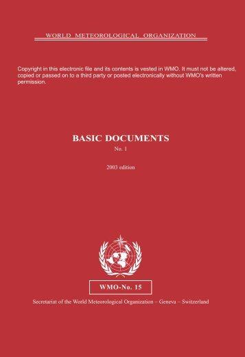 Basic Documents No. 1, Edition 2003 - E-Library - WMO