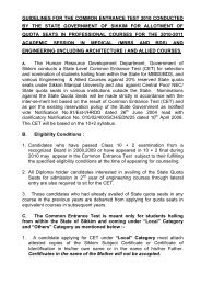 guidelines for the common entrance test 2010 conducted - Sikkim