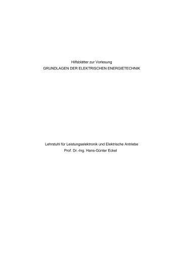 Grundlagen der elektrischen Energieversorgung - HAAG ...
