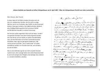 Brief Johann Gottlob Quandts an Arthur Schopenhauer - Webable.de