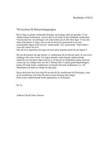 Stockholm 110214 Till styrelsen för Rekryteringsgruppen
