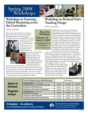 Spring flyer.pdf - The Critical Thinking Community