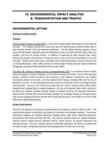 iv. environmental impact analysis b. transportation and traffic