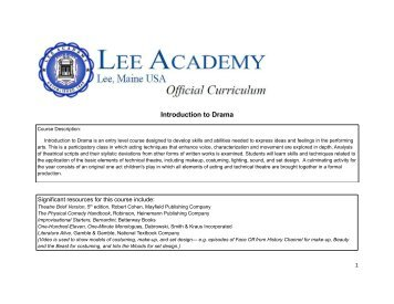 Introduction to Drama - Lee Academy