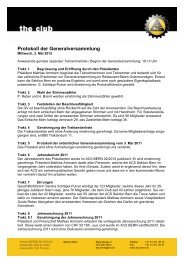 Protokoll der Generalversammlung - ACS Sektion Bern