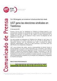 UGT gana las elecciones sindicales en Telefónica - TCM-UGT