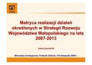 Matryca działań - Województwo Małopolskie