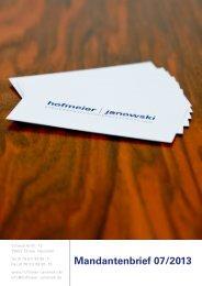 Mandantenbrief Juli 2013 - hofmeier   janowski