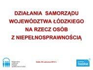 Działania Samorządu Województwa Łódzkiego na rzecz osób z ...