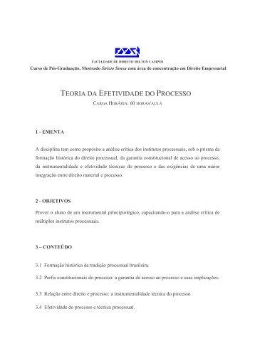 TEORIA DA EFETIVIDADE DO PROCESSO - Milton Campos