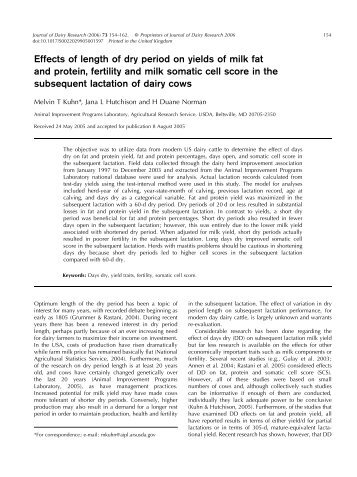 Effects of length of dry period on yields of milk fat and protein, fertility ...