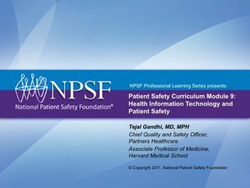 Patient Safety Curriculum Module 9: Health Information Technology ...