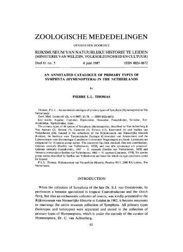 ZOOLOGISCHE MEDEDELINGEN
