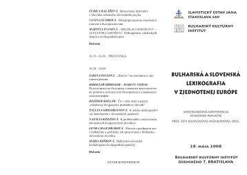 Program konferencie v PDF. - Slavistický ústav Jána Stanislava SAV