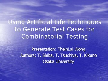 Using Artificial Life Techniques to Generate Test Cases for ...