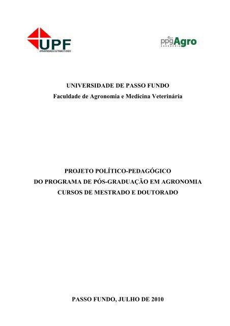 Projeto Polãtico Pedagã Gico Do Ppgagro 2010 Programa De