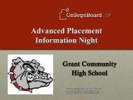 AP® Parent Night Presentation 2012 - Grant Community High School