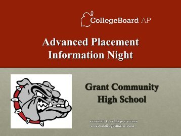 AP® Parent Night Presentation 2012 - Grant Community High School