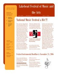 Newsletter Vol. 1 Number 2 Fall edition - Lakehead Festival of Music ...