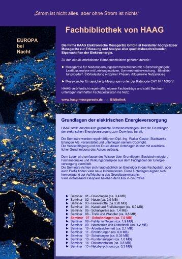 Seminar 07 - Schaltanlagen - HAAG Elektronische Messgeräte GmbH