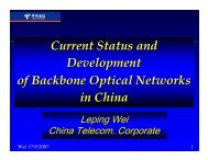 Current Status and Development of Backbone Optical Networks in ...
