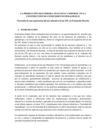 LA PRODUCCIÓN MULTIMEDIA: SUSTANCIA Y SOPORTE EN LA ...