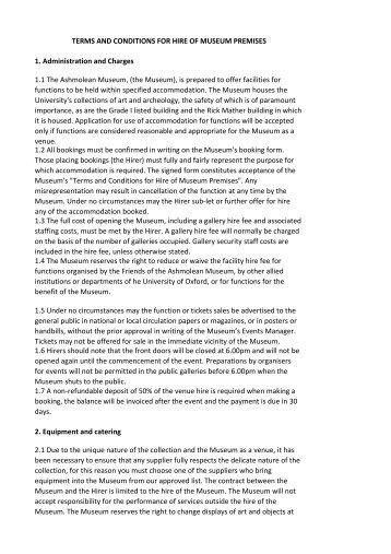 Venue Hire Terms & Conditions - The Ashmolean Museum