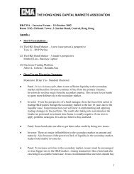 Investor Forum Discussion Notes - The Hong Kong Capital Markets ...