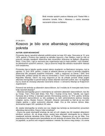 Bivši ministar spoljnih poslova Albanije prof. Paskal ... - ISAC Fund
