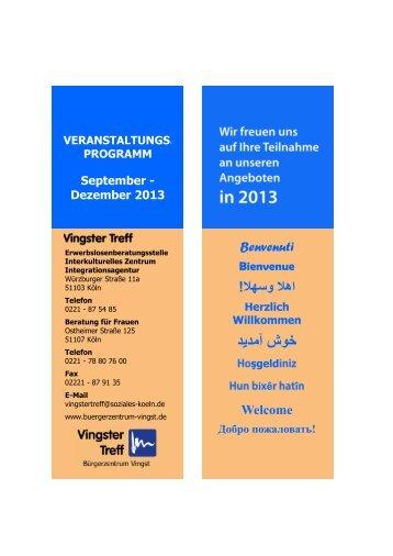 Veranstaltungskalender 2. Halbjahr 2013