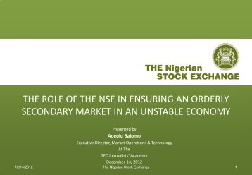 the role of the nse in ensuring an orderly secondary market in an ...