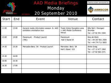 AAD Media Briefings Monday 20 September 2010 Start End Event ...
