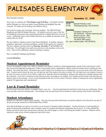 11-21-08 Newsletter - Lake Oswego School District