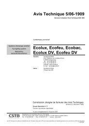 Avis Technique 5/06-1909 Ecolux, Ecofeu, Ecobac, Ecolux DV - CSTB
