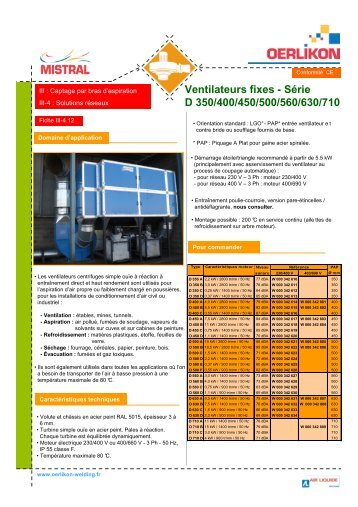 III-4.12 Ventilateurs fixes D 350 400 450 500 560 630 710 - Oerlikon