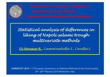 Statistical analysis of differences in liking of Napoli ... - Agrostat 2010