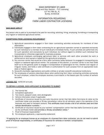 information regarding farm labor contractor licensing - Idaho ...
